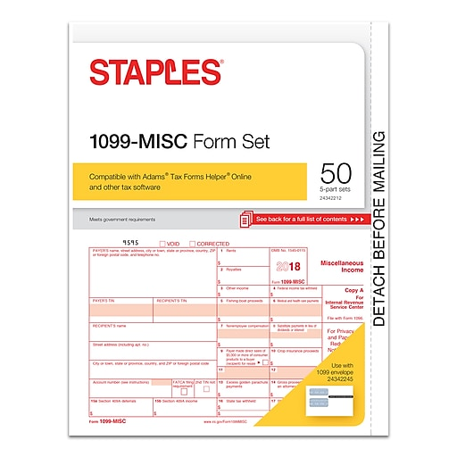 Staples® 2018 1099-MISC Tax Forms, 50 Sets/Pack (50462-18