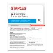 Staples® 2018 W-3 Summary Transmittal Tax Forms, 10/Pack (50469-18)