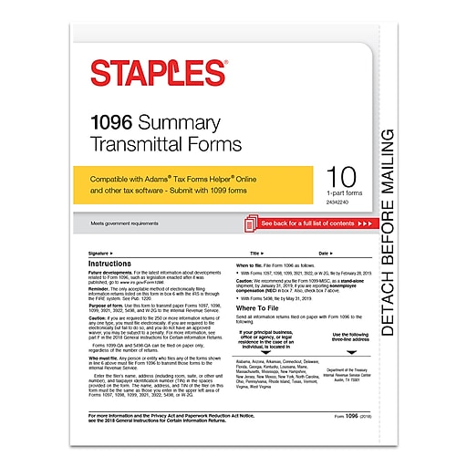 Staples 2018 1096 Summary Transmittal Tax Forms 10pack 50468 18
