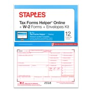 Staples® 2018 W-2 Tax Forms, Envelopes and TFH Online Kit, 12 sets/Pack (50482-18)