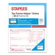 Staples® 2018 W-2 Tax Forms and TFH Online Kit, 50 sets/Pack (50467-18)