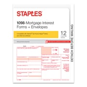 Staples® 2018 1098-Mortgage Interest Tax Forms and Envelopes, 12 sets/Pack (50477-18)