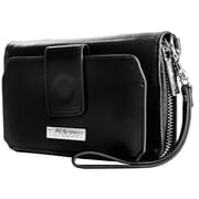 Vangoddy Universal Smartphone Wallet Clutch Wristlet with Wrist Stra Fits iPhone, Black (SAMLEA001)