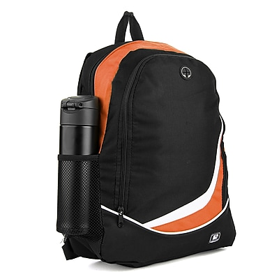 SumacLife Light Weight School Laptop Backpack, Black Orange (PT_NBKLEA479_NS)