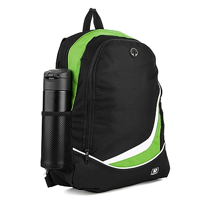 SumacLife Light Weight School Laptop Backpack, Black Green (PT_NBKLEA475_NS)