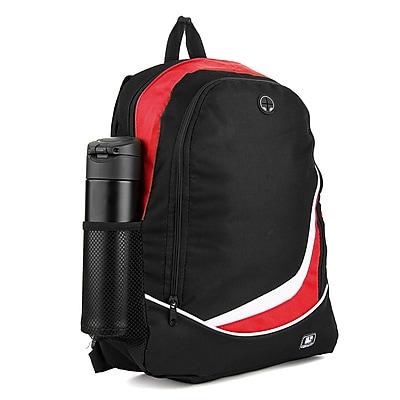 SumacLife Light Weight School Laptop Backpack, Black Red (PT_NBKLEA476_NS)