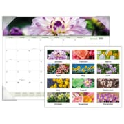 """AT-A-GLANCE® Floral Panoramic Monthly Desk Pad, 12 Months, January Start, 22"""" x 17"""" (89805-19)"""