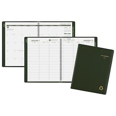 AT-A-GLANCE® Recycled Weekly/Monthly Classic Appointment Book 8 1/4 x 10 7/8 Green 2018