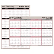 "AT-A-GLANCE® Vertical/Horizontal Erasable Quarterly Wall, Reversible, 12 Months, January Start, 36"" x 24"", Red/Black (A123-19)"