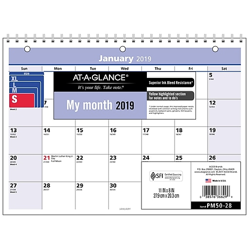 at a glance quicknotes monthly desk wall calendar 12 months