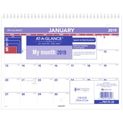 "AT-A-GLANCE® Monthly Desk/Wall Calendar, 12 Months, January Start, 8 1/2"" x 11"", Wirebound (PM170-28-19)"
