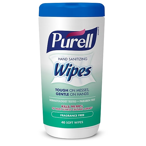 PURELL® Hand Sanitizing Wipes, Fragrance Free, 40 wipes/canister (9121-06-CMR)