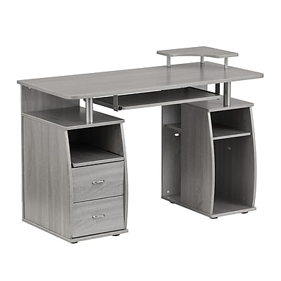 Bon Techni Mobili Complete Computer Workstation Desk With Storage, Gray  (RTA 8211 GRY)