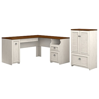 Bush Furniture Fairview 60W L Shaped Desk And Storage Cabinet With Drawer,  Antique White/Tea Maple (FV009AW)