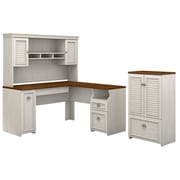 Bush Furniture Fairview 60W L Shaped Desk with Hutch and Storage Cabinet with Drawer, Antique White/Tea Maple (FV010AW)