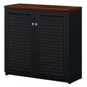 Bush Furniture Fairview Small Storage Cabinet with Doors, Antique Black/Hansen Cherry (WC53996-03)