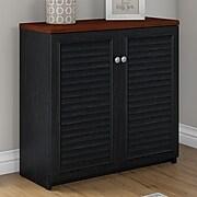 Bush Furniture Fairview Small Storage Cabinet with Doors, Antique Black/Hansen Cherry (WC53996-03)