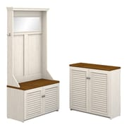 Bush Furniture Fairview Hall Tree with Shoe Bench and Small Storage Cabinet, Antique White/Tea Maple (FV016AW)