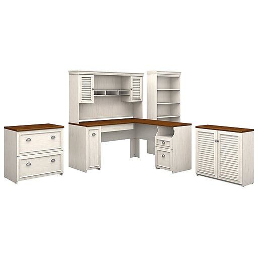Swell Bush Furniture Fairview 60W L Shaped Desk With Hutch Storage Cabinets And 5 Shelf Bookcase Antique White Tea Maple Fv013Aw Download Free Architecture Designs Scobabritishbridgeorg