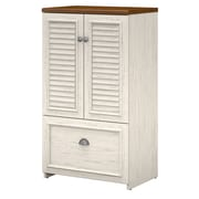 Bush Furniture Fairview Storage Cabinet with Drawer, Antique White/Tea Maple (WC53280-03)