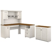 Bush Furniture Fairview 60W L Shaped Desk with Hutch and Small Storage Cabinet, Antique White/Tea Maple (FV012AW)