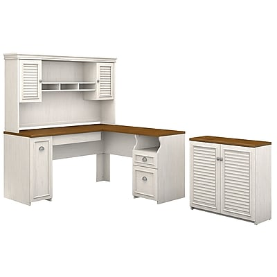 bush furniture fairview 60w l shaped desk with hutch and small rh staples com staples white l shaped desk staples gillespie l-shaped desk