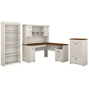 Bush Furniture Fairview 60W L Shaped Desk with Hutch, Storage Cabinet with Drawer and 5 Shelf Bookcase, Antique White (FV011AW)
