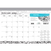 2019 Brown Trout 17 x 12  Ebony and Ivory Monthly Desk Pad Calendar (9781465079404)