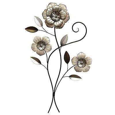 Stratton Home Decor 3 Headed Simple Flower Wall Decor (S07706)
