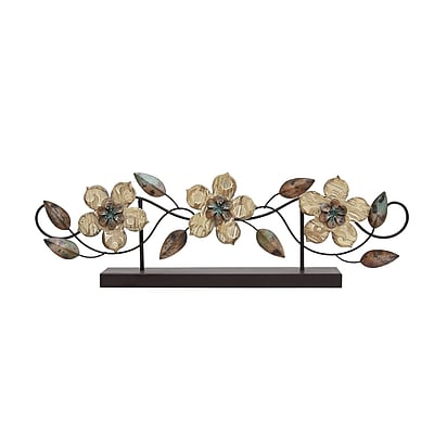 Stratton Home Decor Stamp Wood Flower Table Top (S07669)