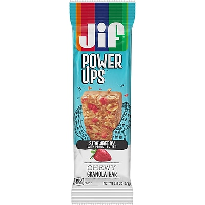 Jif Power Ups Chewy Granola Bars, Strawberry with Peanut Butter, 1.3-Ounce Bar, 5 Count Box (SMU24461)