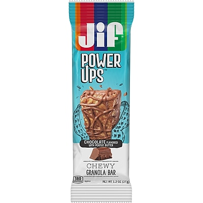 Jif Power Ups Chewy Granola Bars, Chocolate with Peanut Butter, 1.3-Ounce Bar, 5 Count Box (SMU24470)