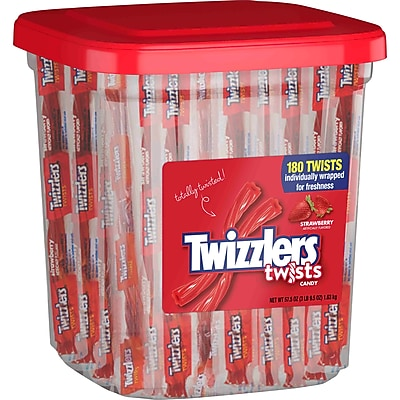Twizzlers Twist Individually Wrapped Strawberry 57.7 oz Container, 180 Count (HEC51922)