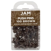 JAM Paper® Colorful Push Pins, Chocolate Brown Pushpins, 200/Pack