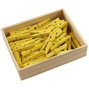 JAM Paper® Wood Clip Clothespins, Medium, 1 1/8, Yellow, 100 Clothes Pins/Pack
