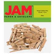 JAM Paper® Wood Clip Clothespins, Large, 1.5 inch, Natural, 30 Clothes Pins/Pack