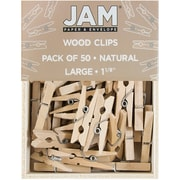 JAM Paper® Wood Clip Clothespins, Medium, 1 1/8, Natural Brown, 100 Clothes Pins/Pack