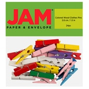 JAM Paper® Wood Clip Clothespins, Large, 1 1/ inch, Natural, 24 Clothes Pins/Pack