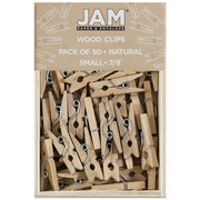 JAM Paper® Wood Clip Clothespins, Small, 7/8, Natural Brown, 100 Clothes Pins/Pack