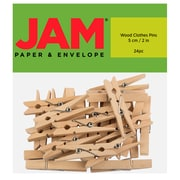 JAM Paper® Wood Clip Clothespins, Extra Large, 2 inch, Natural, 24 Clothes Pins/Pack