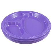 "JAM Paper® Plastic 3 Compartment Divided Plates, Large, 10 1/4"", Hot Purple, 20/Pack (10255CPHPU)"
