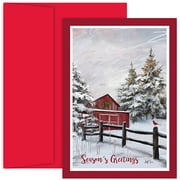 "JAM Paper® Blank Christmas Cards Set with Matching Envelopes, Winter Barn, 18/Pack,  7.875"" x 5.625"" (526914200)"