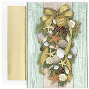 "JAM Paper® Blank Christmas Cards Set with Matching Envelopes, Beach Swag, 18/Pack,  7.875"" x 5.625"" (526902700)"