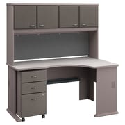 Bush Business Furniture Cubix Right Corner Desk with Hutch and Mobile File Cabinet, Pewter/White Spectrum (SRA079PESU)