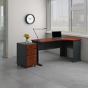 Bush Business Furniture Cubix Right Corner Desk with Mobile File Cabinet, Hansen Cherry/Galaxy (SRA075HCSU)