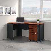 Bush Business Furniture Cubix Left Corner Desk with Mobile File Cabinet, Hansen Cherry/Galaxy (SRA074HCSU)