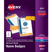 "Avery Vertical Name Badges, Durable Plastic Holders, Lanyards, 6"" x 4-1/4"", 75 Badges (8521)"
