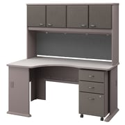Bush Business Furniture Cubix Left Corner Desk with Hutch and File Cabinet, Pewter/White Spectrum, Installed (SRA076PESUFA)