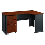 Bush Business Furniture Cubix Right Corner Desk with Mobile File Cabinet, Hansen Cherry/Galaxy, Installed (SRA075HCSUFA)