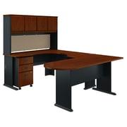 Bush Business Furniture Cubix U Shaped Corner Desk with Hutch and File Cabinet, Hansen Cherry/Galaxy, Installed (SRA077HCSUFA)